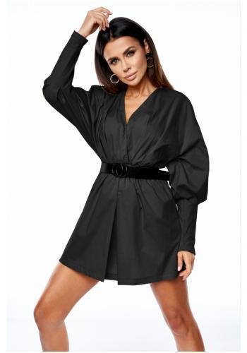 Štýlové čierne MINI šaty s obálkovým výstrihom a nafúknutými rukávmi pre dámy