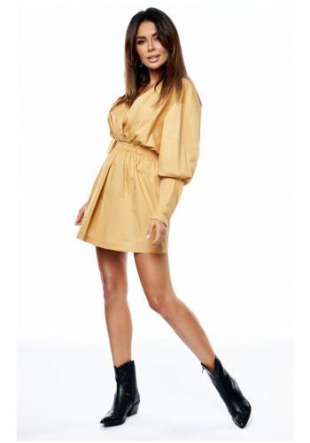 Dámske horčicové MINI šaty s obálkovým výstrihom a nafúknutými rukávmi
