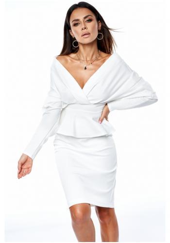 Elegantná klasická sukňa s vysokým pásom v bielej farbe pre dámy