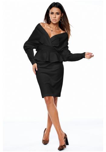 Čierna klasická sukňa s vysokým pásom pre dámy