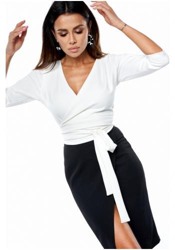 Blúzka na viazanie v páse s obálkovým výstrihom v bielej farbe pre dámy