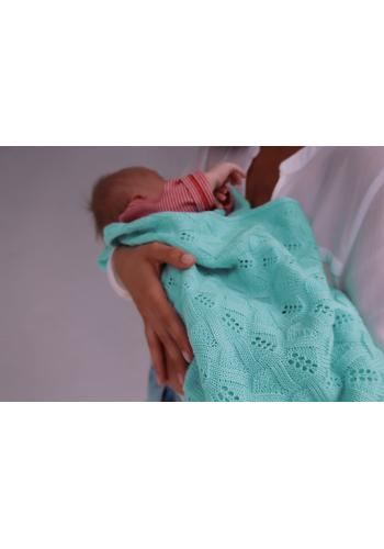 Pletená deka s jemnou väzbou - mäta