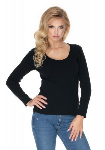 Bavlnená blúzka s dlhým rukávom v čiernej farbe a výstrihom pre dámy