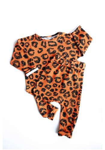 Oranžová tepláková súprava s potlačou leoparda pre dievčatá
