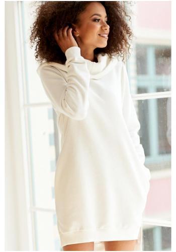 Pohodlná bavlnená tunika s kapucňou v krémovej farbe pre dámy