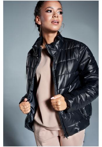 Štýlová prechodná prešívaná bunda v čiernej farbe pre dámy