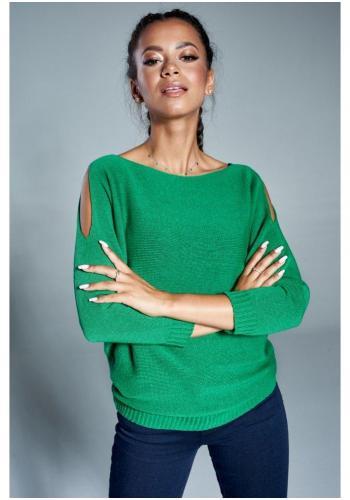 Zelený bavlnený sveter s odhalenými rukávmi pre dámy