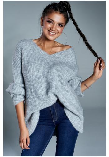 Dámsky oversize sveter v sivej farbe s V výstrihom