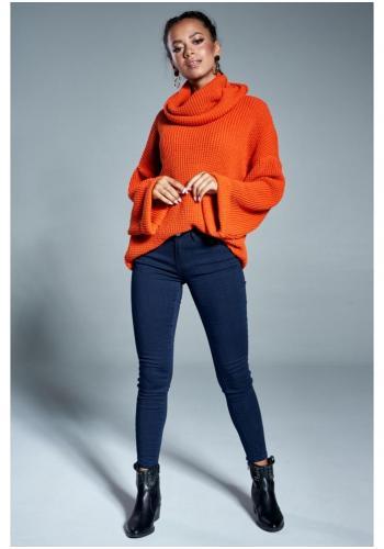 Dámsky oversize rolák so širokými rukávmi v pomarančovej farbe