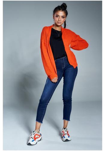 Štýlový krátky kardigán v pomarančovej farbe pre dámy