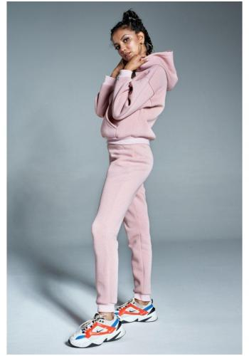 Svetlo ružová mikina s kapucňou a logom pre dámy