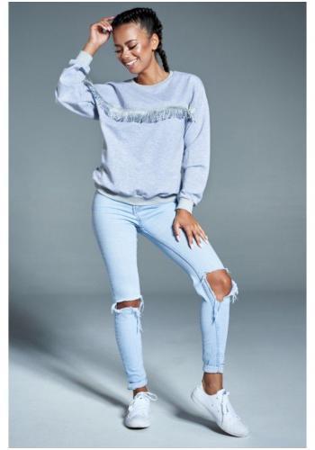 Sivá bavlnená mikina so strapcami pre dámy