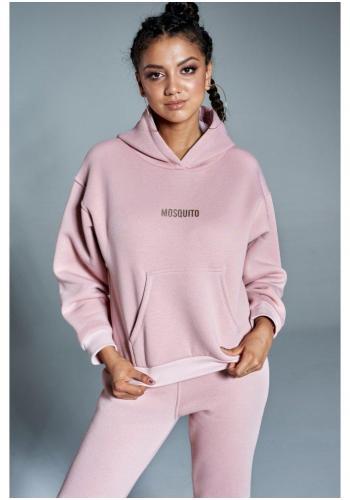 Svetlo ružový komplet teplákov a mikiny s kapucňou a logom pre dámy