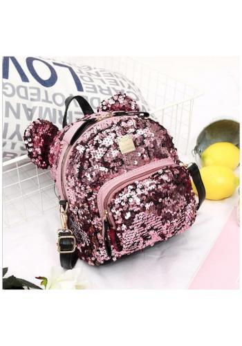 Dámsky flitrový ruksak s ušami v ružovej farbe