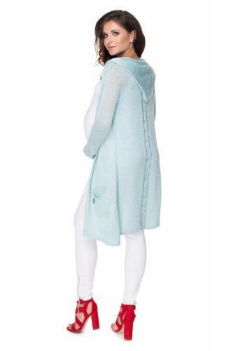 Štýlový kardigán s kapucňou a vrkočom na chrbte vo svetlo modrej farbe