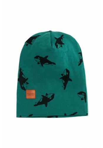 Tmavozelená čiapka s potlačou kosatiek a logom pre deti