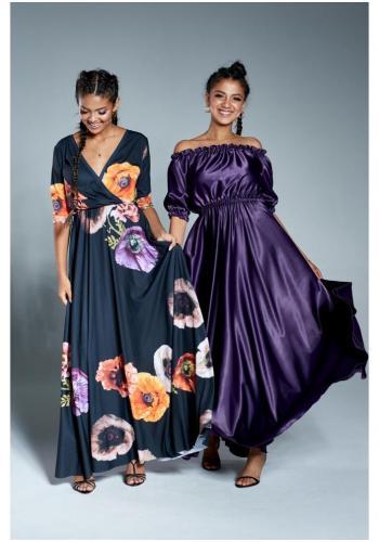 Štýlové maxi šaty v španielskom štýle vo fialovej farbe pre dámy
