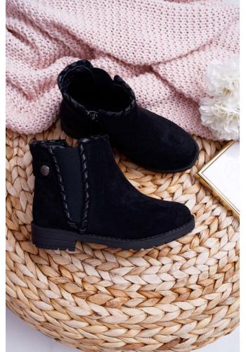 Čierne semišové čižmy na jeseň pre dievčatá