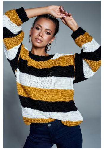 Trojfarebný pruhovaný sveter pre dámy - horčicový