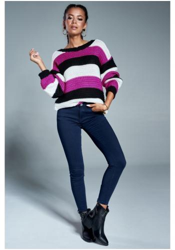 Dámsky trojfarebný pruhovaný sveter - fialový