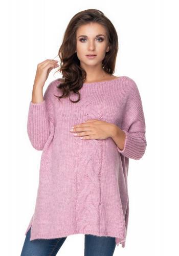 Ružovo-fialový oversize sveter s rázporkami po boku a vrkočom pre dámy