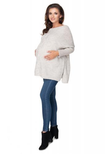 Svetlo sivý oversize sveter s rázporkami po boku a vrkočom pre dámy