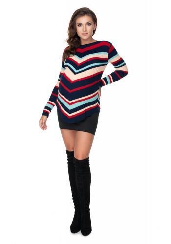 Dámsky zaoblený sveter so šikmými pruhmi v tmavomodrej farbe