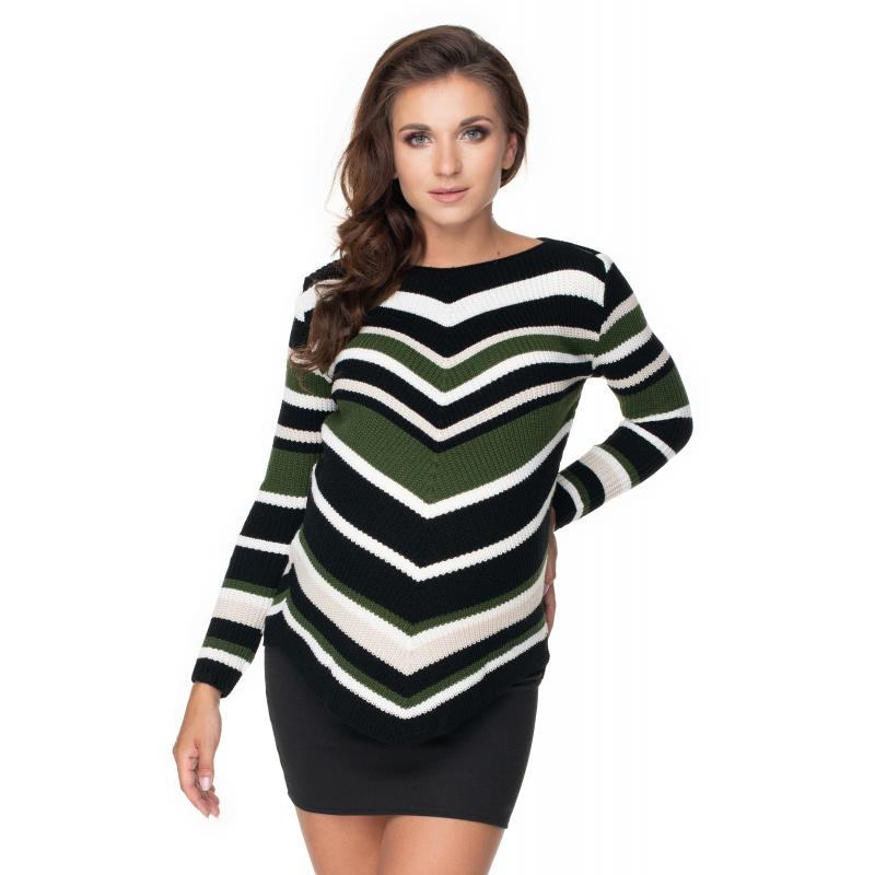 Kaki zaoblený sveter so šikmými pruhmi pre dámy
