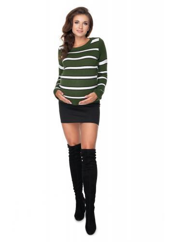 Dámsky pruhovaný kaki sveter pre dámy