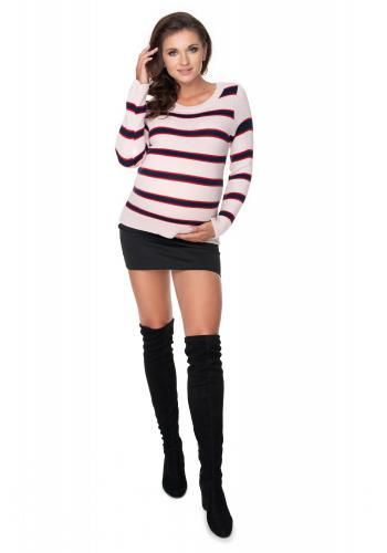 Svetlo ružový pruhovaný sveter pre dámy