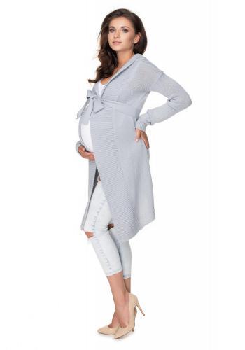 Dámsky dlhý kardigán/plášť v sivej farbe s viazaním okolo pása