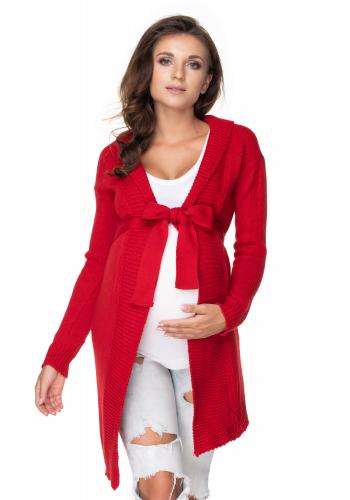 Červený dlhý kardigán/plášť s viazaním okolo pása pre dámy