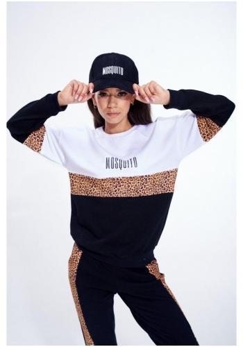 Trojfarebný bavlnený komplet čiernych teplákov a mikiny s leopardím pásom s logom pre dámy