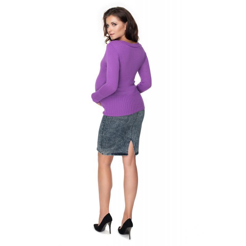 Dámsky klasický sveter vo fialovej farbe