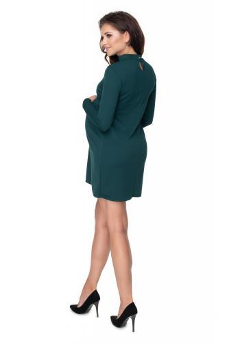 Tehotenské šaty v tmavozelenej farbe so stojatým golierom