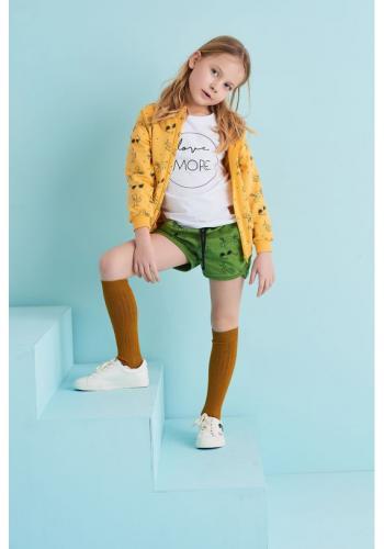 Detská mikina na zips s kapucňou s potlačou leta v žltej farbe