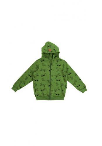 Zelená mikina na zips s kapucňou s potlačou leta pre deti