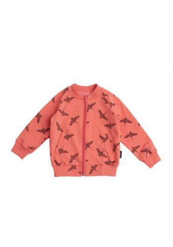 Dievčenská bomberka v lososovej farbe s motívom vtákov žeriavov