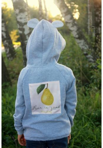 Detská svetlo sivá mikina s aplikáciou na chrbte a kapucňou s ušami na zips