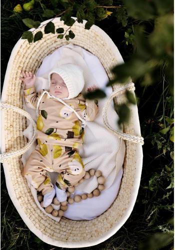 Detské béžové nohavice s potlačou hrušiek