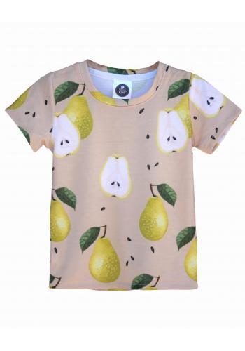 Béžové tričko s potlačou hrušiek pre deti