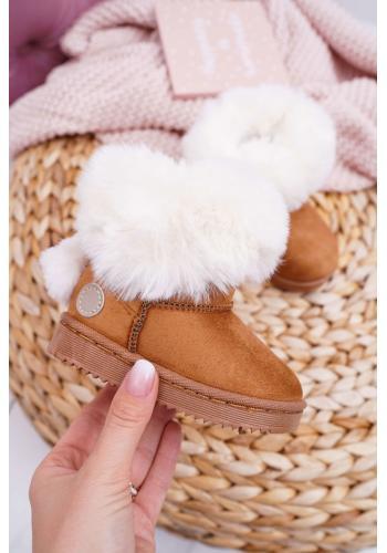 Hnedé semišové snehule s kožušinou pre dievčatá