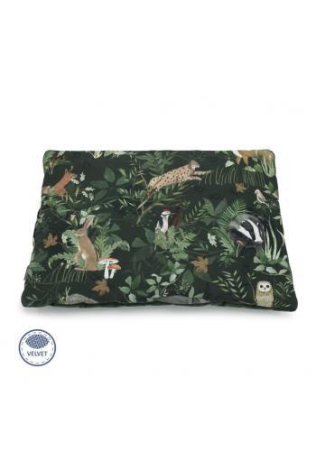 Malý zamatový vankúš - zvieratá/tmavo zelená