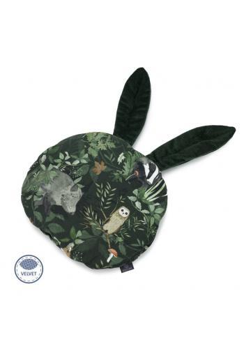 Zamatový vankúš s ušami v tmavo zelenej farbe - zvieratá