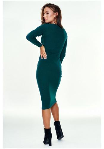 Dámske midi šaty ceruzka v tmavo zelenej farbe s dlhým rukávom