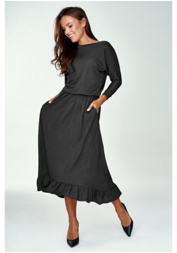 Čierne midi šaty s volánikom pre dámy