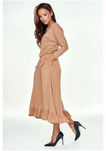 Štýlové midi šaty s volánikom pre dámy v medovej farbe