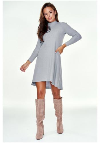 Štýlové šaty s polorolákom a mierne rozšíreným dnom pre dámy v sivej farbe