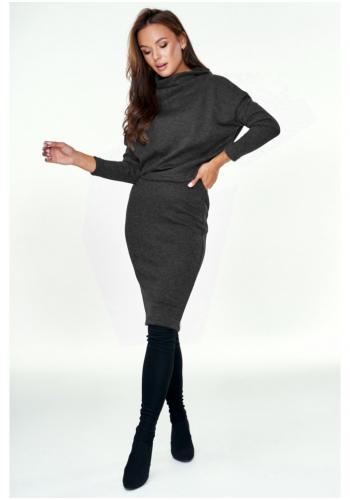 Štýlový dámsky svetrový komplet sukne a poloroláku v čiernej farbe