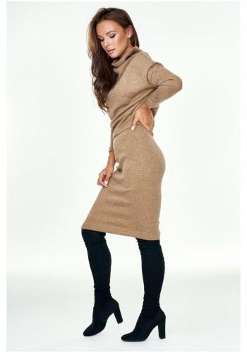 Dámsky svetrový komplet sukne a poloroláku v béžovej farbe